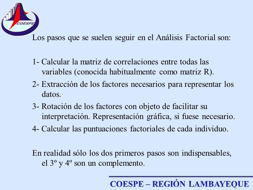 Los pasos que se suelen seguir en el Análisis Factorial son: 1- Calcular la matriz de correlaciones entre todas las variables (conocida habitualmente