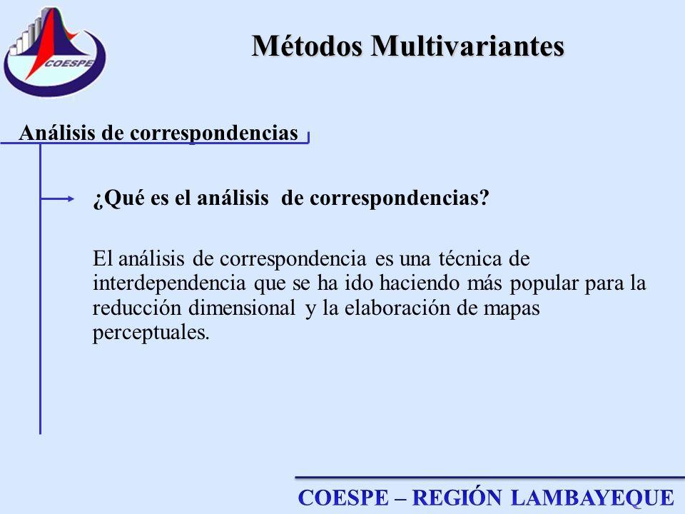 Métodos Multivariantes ¿Qué es el análisis de correspondencias? El análisis de correspondencia es una técnica de interdependencia que se ha ido hacien