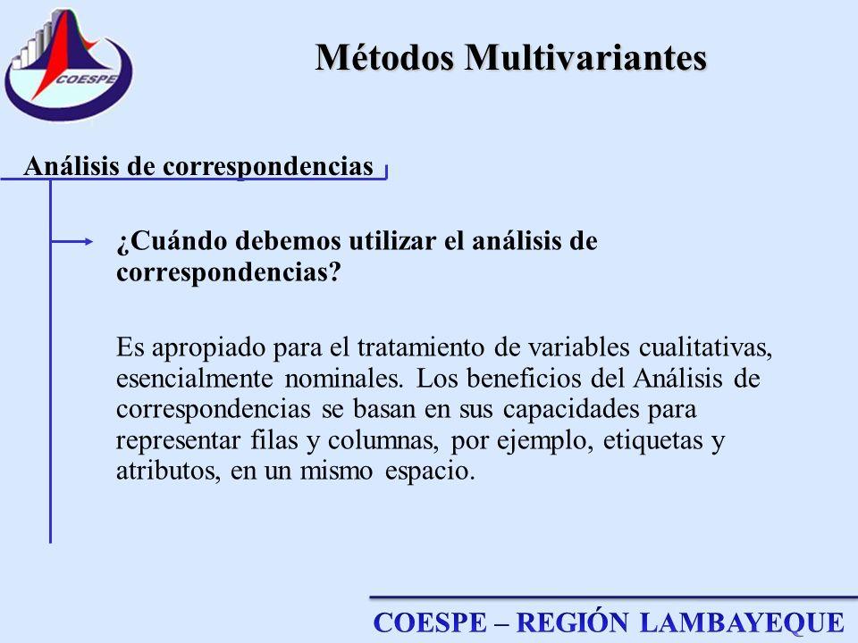 Métodos Multivariantes ¿Cuándo debemos utilizar el análisis de correspondencias? Es apropiado para el tratamiento de variables cualitativas, esencialm