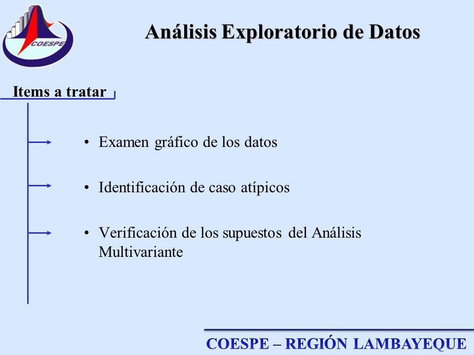 Análisis Exploratorio de Datos Examen gráfico de los datos Identificación de caso atípicos Verificación de los supuestos del Análisis Multivariante It