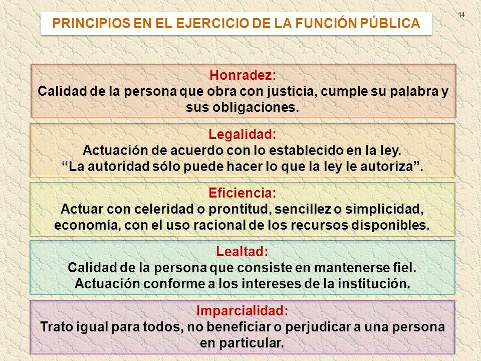 14 PRINCIPIOS EN EL EJERCICIO DE LA FUNCIÓN PÚBLICA Honradez: Calidad de la persona que obra con justicia, cumple su palabra y sus obligaciones. Legal