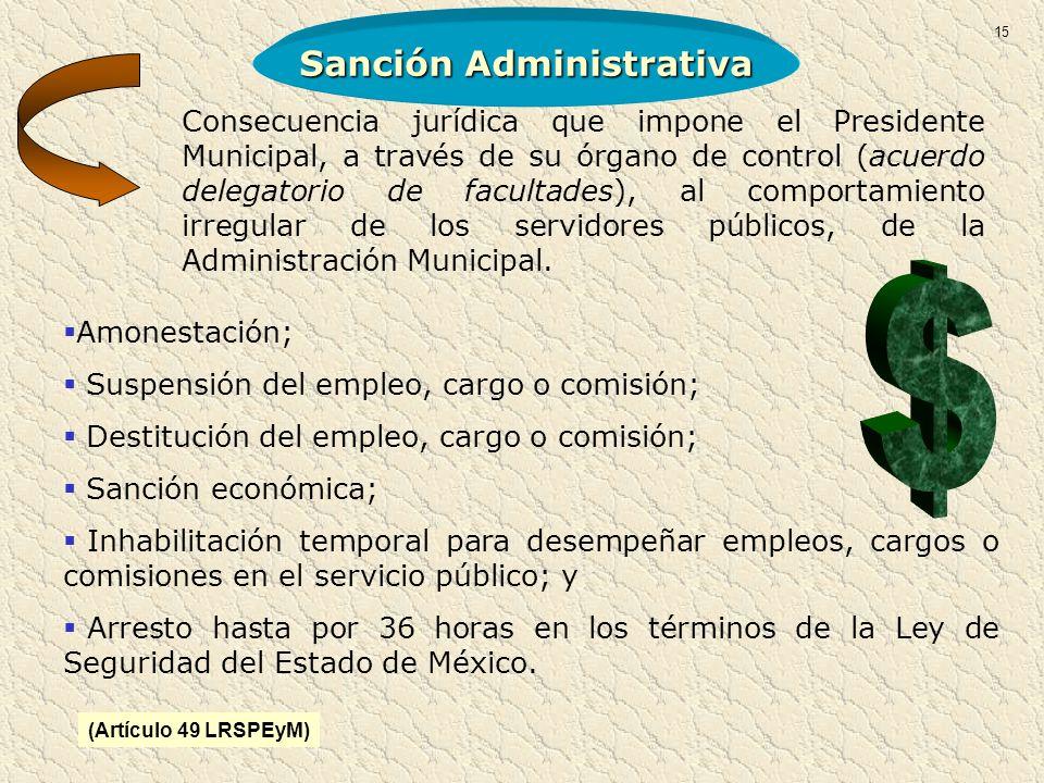 Sanción Administrativa Amonestación; Suspensión del empleo, cargo o comisión; Destitución del empleo, cargo o comisión; Sanción económica; Inhabilitac