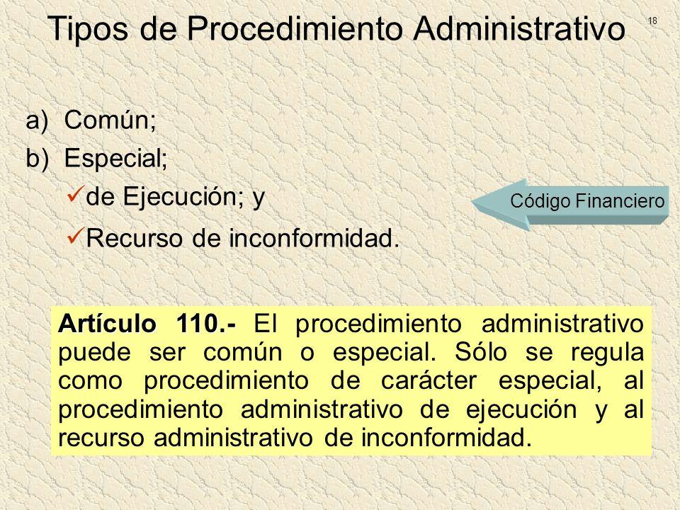 Tipos de Procedimiento Administrativo a)Común; b)Especial; de Ejecución; y Recurso de inconformidad. Artículo 110.- Artículo 110.- El procedimiento ad