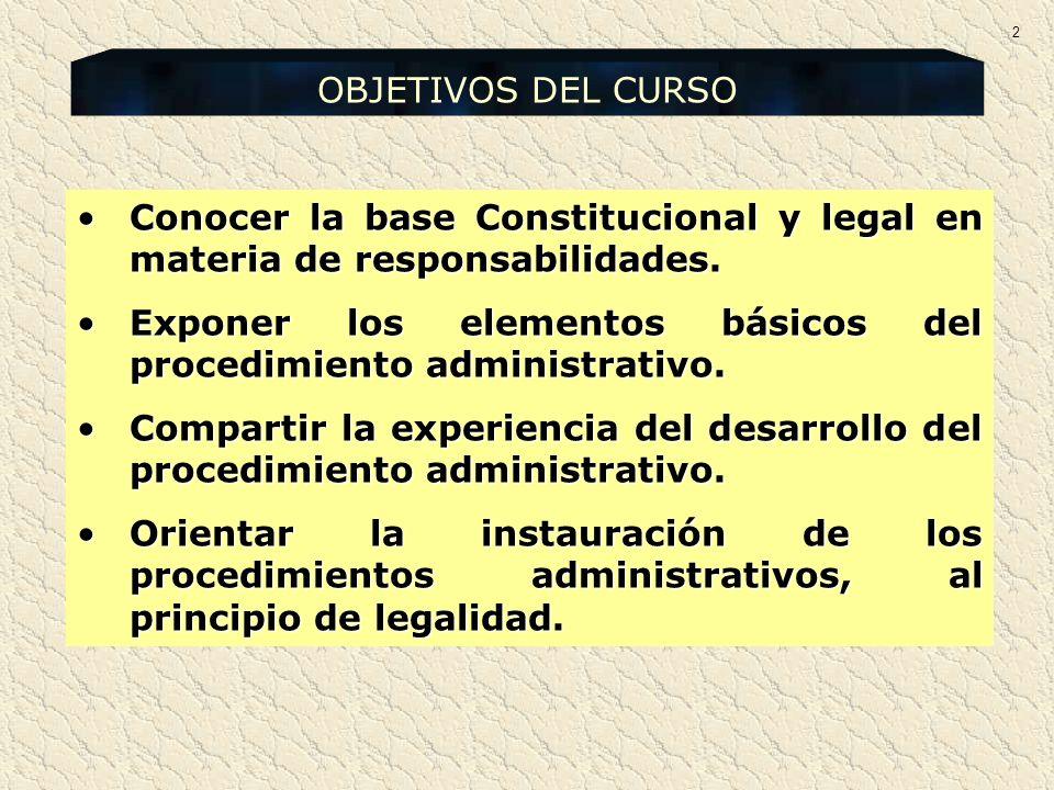 Conocer la base Constitucional y legal en materia de responsabilidades.Conocer la base Constitucional y legal en materia de responsabilidades. Exponer