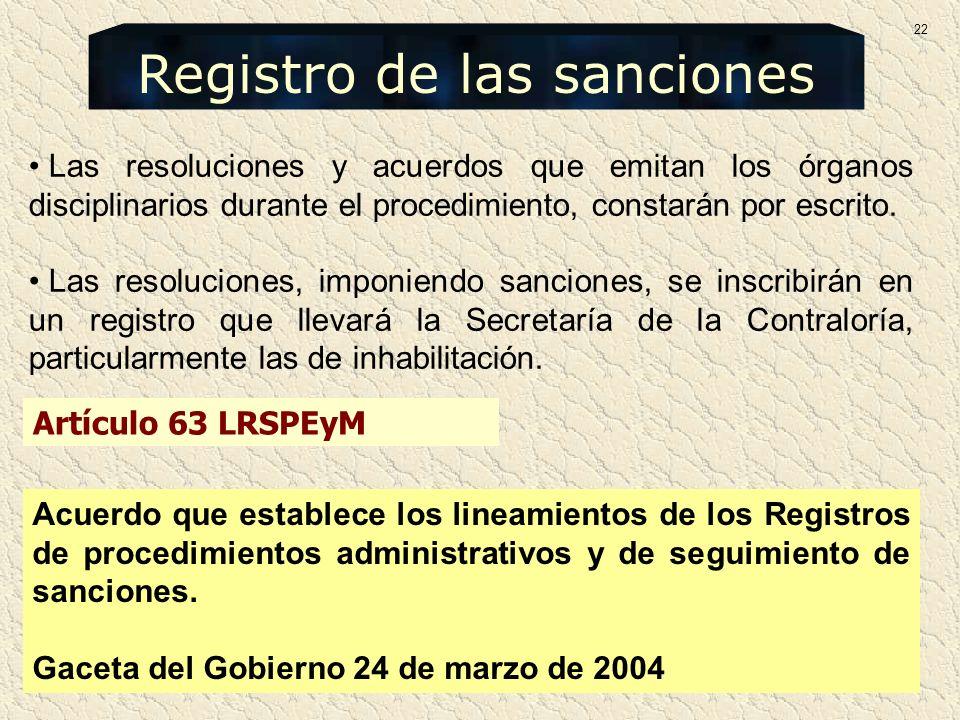 Las resoluciones y acuerdos que emitan los órganos disciplinarios durante el procedimiento, constarán por escrito. Las resoluciones, imponiendo sancio