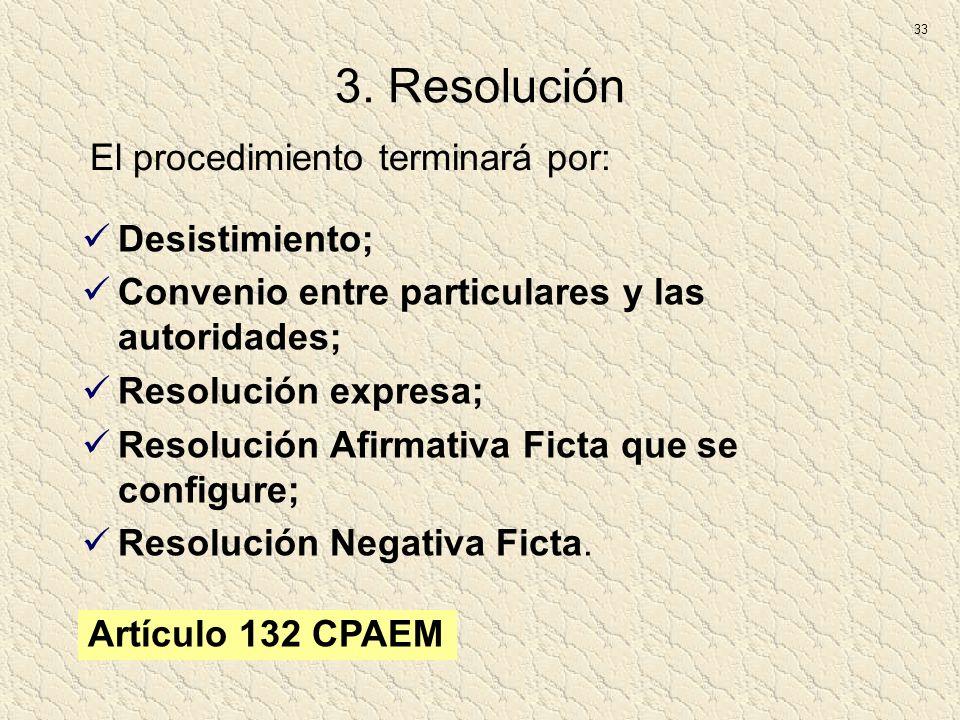 3. Resolución Desistimiento; Convenio entre particulares y las autoridades; Resolución expresa; Resolución Afirmativa Ficta que se configure; Resoluci