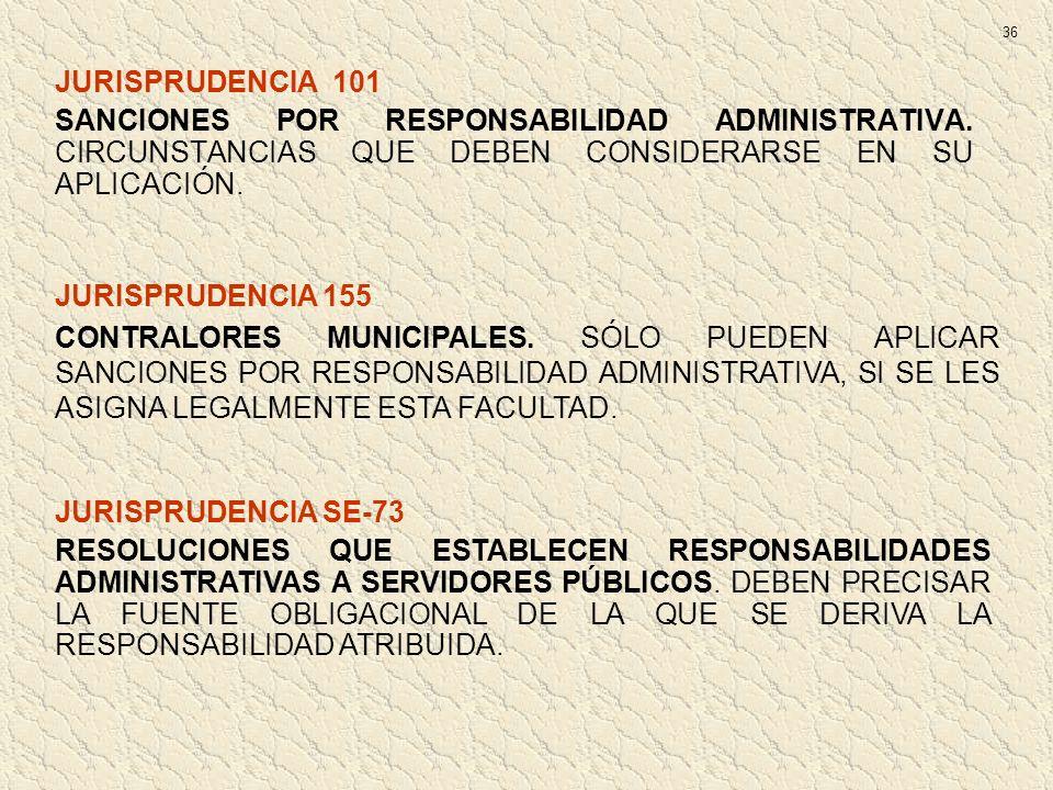 JURISPRUDENCIA 101 SANCIONES POR RESPONSABILIDAD ADMINISTRATIVA. CIRCUNSTANCIAS QUE DEBEN CONSIDERARSE EN SU APLICACIÓN. JURISPRUDENCIA 155 CONTRALORE