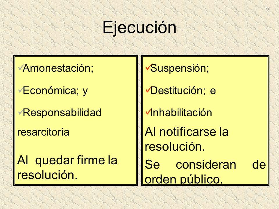 Ejecución Amonestación; Económica; y Responsabilidad resarcitoria Al quedar firme la resolución. Suspensión; Destitución; e Inhabilitación Al notifica
