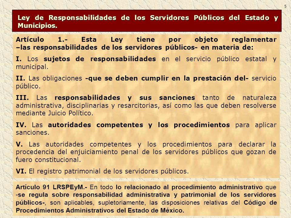Ley de Responsabilidades de los Servidores Públicos del Estado y Municipios. Ley de Responsabilidades de los Servidores Públicos del Estado y Municipi