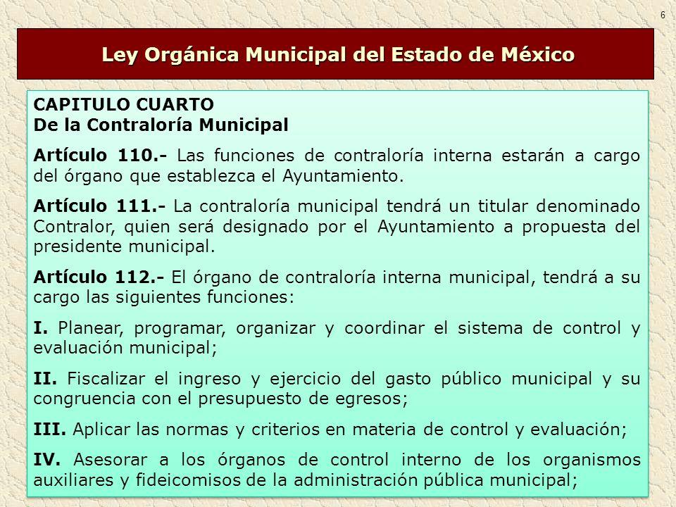 CAPITULO CUARTO De la Contraloría Municipal Artículo 110.- Las funciones de contraloría interna estarán a cargo del órgano que establezca el Ayuntamie