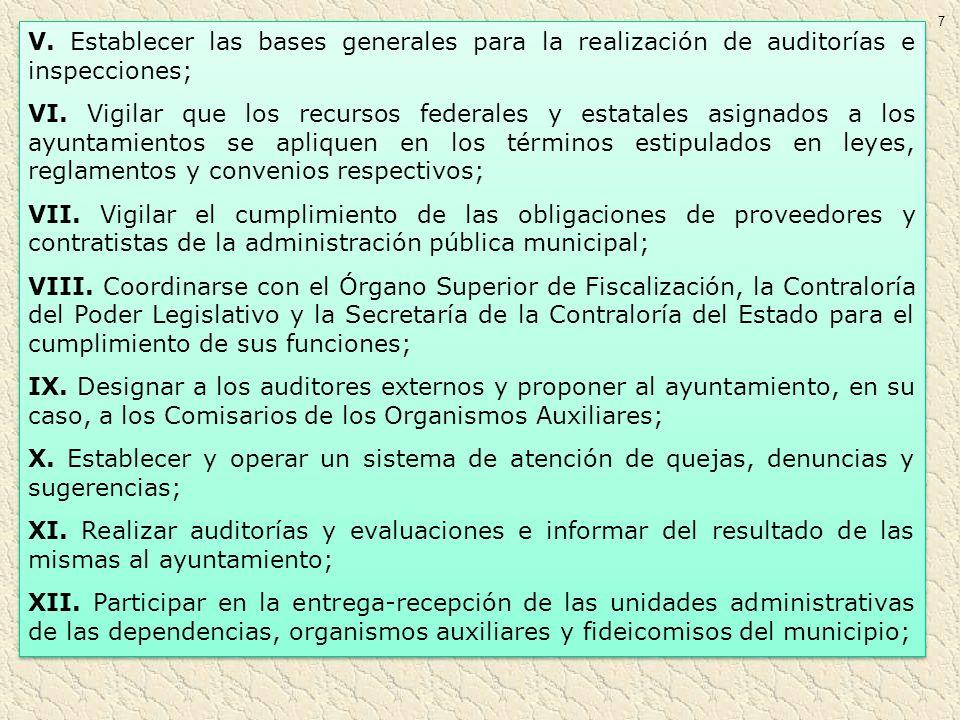 7 V. Establecer las bases generales para la realización de auditorías e inspecciones; VI. Vigilar que los recursos federales y estatales asignados a l