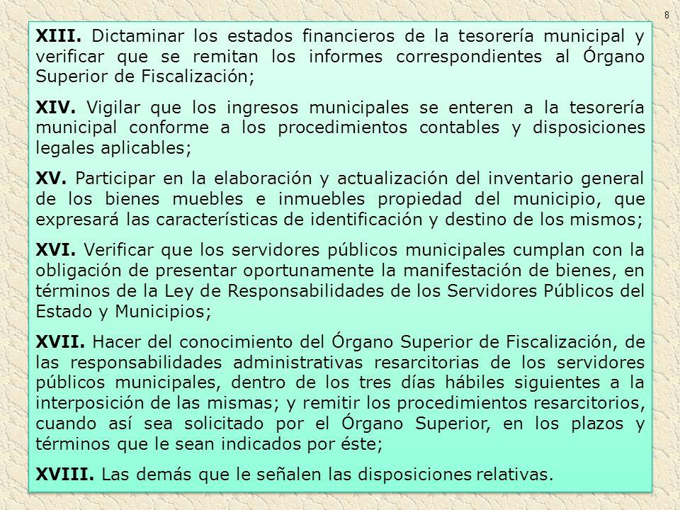 XIII. Dictaminar los estados financieros de la tesorería municipal y verificar que se remitan los informes correspondientes al Órgano Superior de Fisc