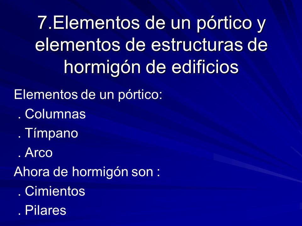 7.Elementos de un pórtico y elementos de estructuras de hormigón de edificios Elementos de un pórtico:. Columnas. Tímpano. Arco Ahora de hormigón son