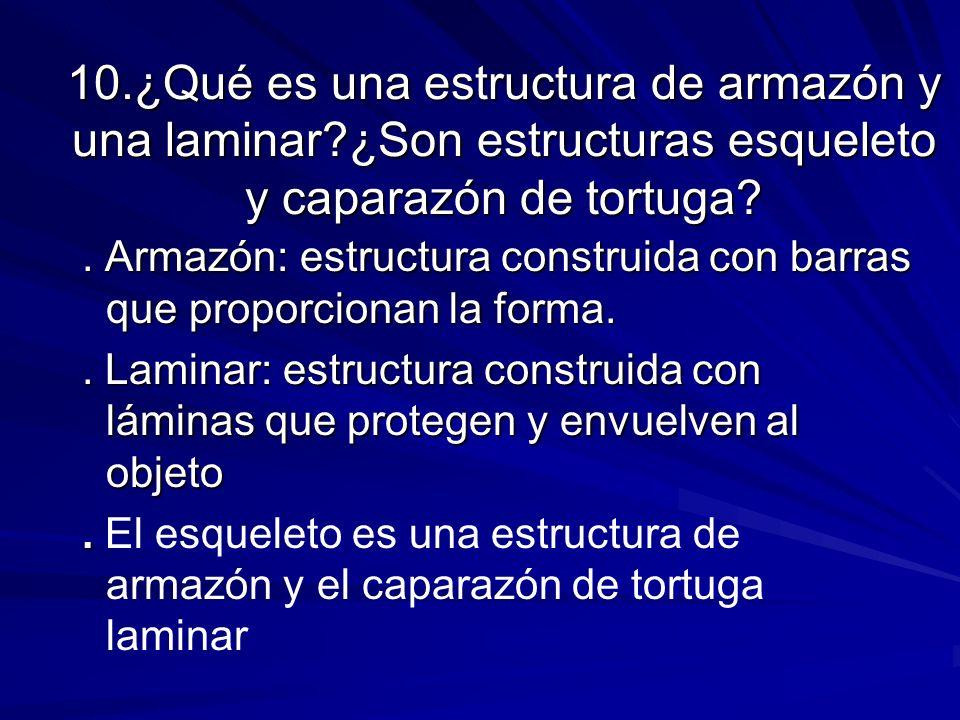 10.¿Qué es una estructura de armazón y una laminar?¿Son estructuras esqueleto y caparazón de tortuga?. Armazón: estructura construida con barras que p