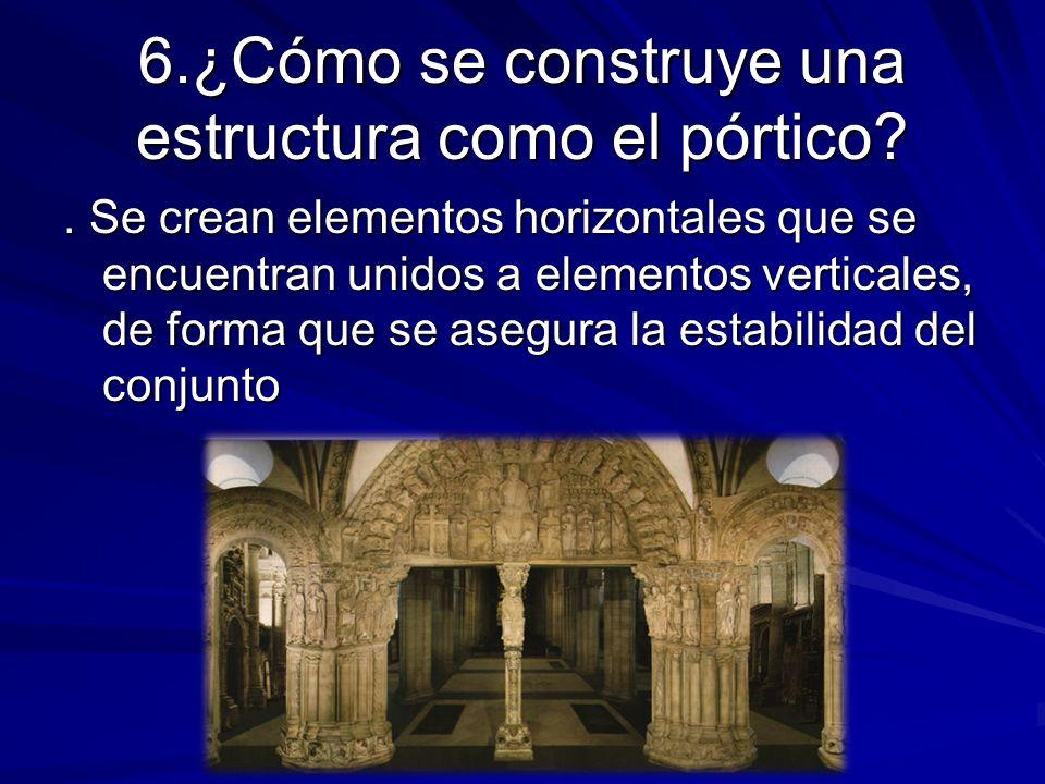 6.¿Cómo se construye una estructura como el pórtico?. Se crean elementos horizontales que se encuentran unidos a elementos verticales, de forma que se