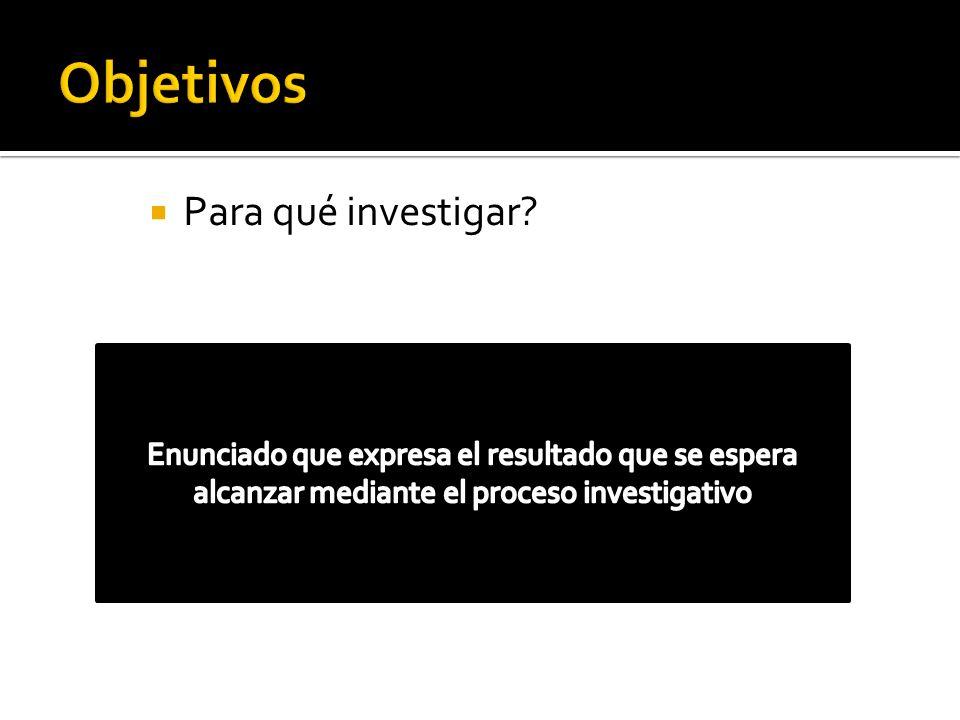 Para qué investigar?