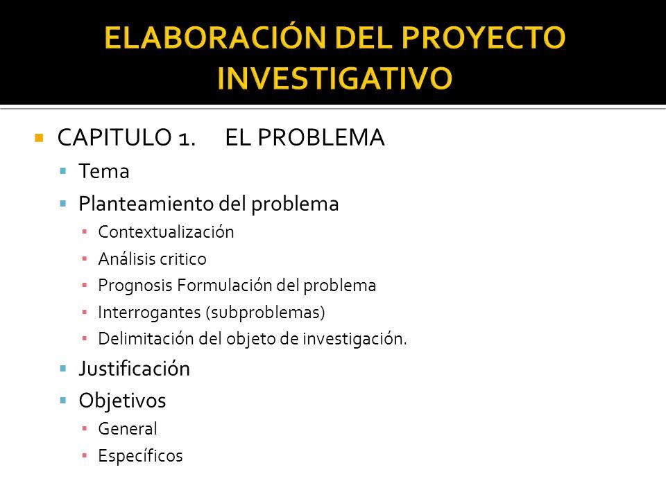 CAPITULO 1.EL PROBLEMA Tema Planteamiento del problema Contextualización Análisis critico Prognosis Formulación del problema Interrogantes (subproblemas) Delimitación del objeto de investigación.