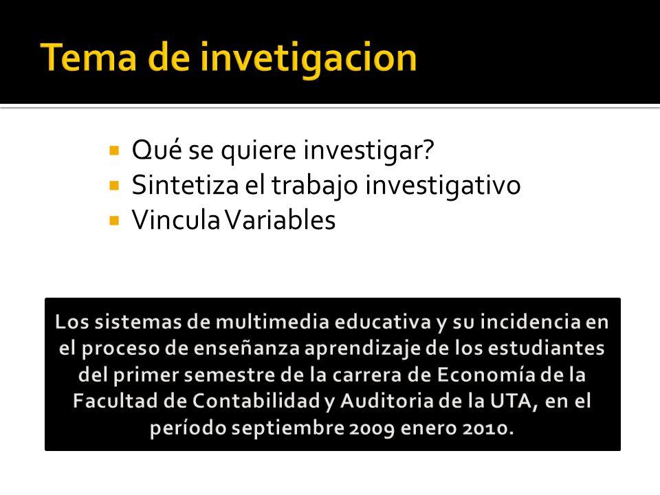 Qué se quiere investigar? Sintetiza el trabajo investigativo Vincula Variables