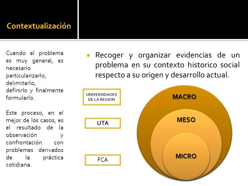 Contextualización Recoger y organizar evidencias de un problema en su contexto historico social respecto a su origen y desarrollo actual.