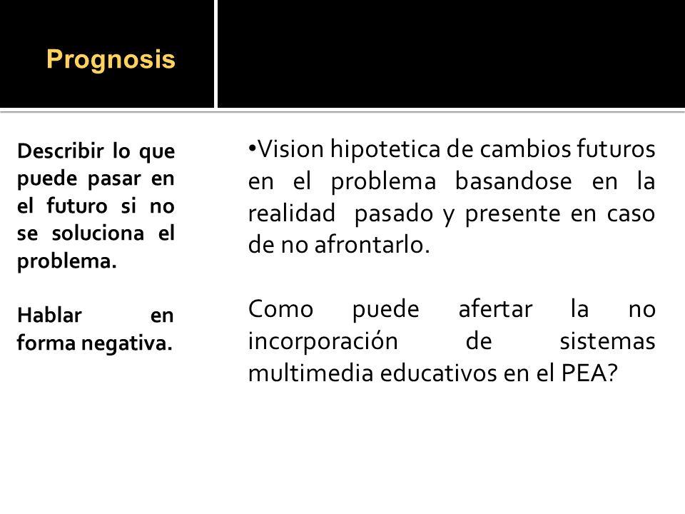 Prognosis Describir lo que puede pasar en el futuro si no se soluciona el problema.