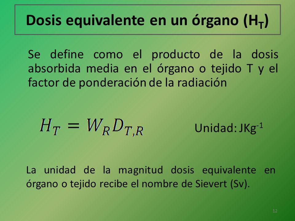 Dosis equivalente en un órgano (H T ) Se define como el producto de la dosis absorbida media en el órgano o tejido T y el factor de ponderación de la