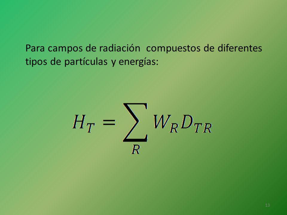 Para campos de radiación compuestos de diferentes tipos de partículas y energías: 13