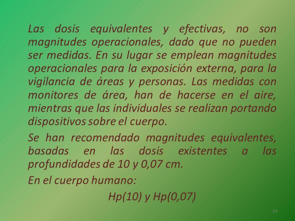 Las dosis equivalentes y efectivas, no son magnitudes operacionales, dado que no pueden ser medidas. En su lugar se emplean magnitudes operacionales p