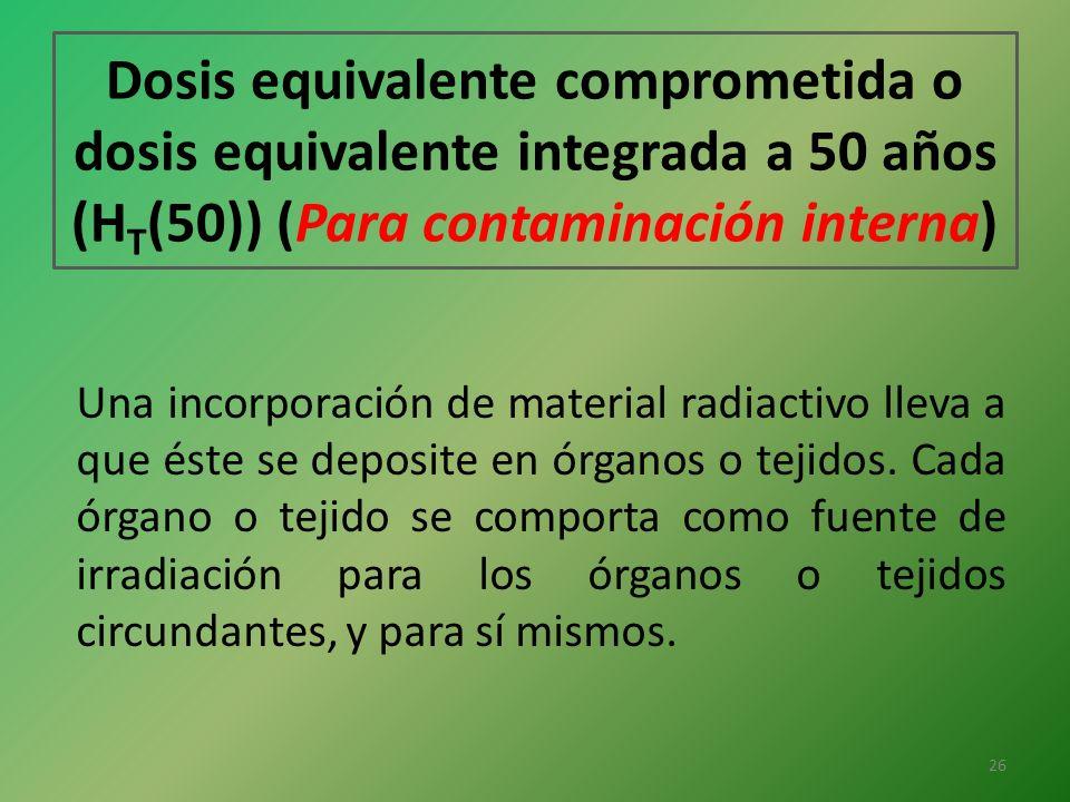 Dosis equivalente comprometida o dosis equivalente integrada a 50 años (H T (50)) (Para contaminación interna) Una incorporación de material radiactiv