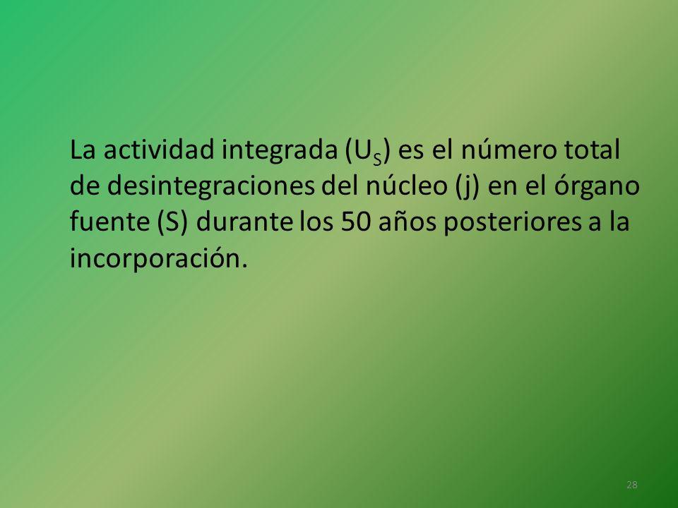 La actividad integrada (U S ) es el número total de desintegraciones del núcleo (j) en el órgano fuente (S) durante los 50 años posteriores a la incor
