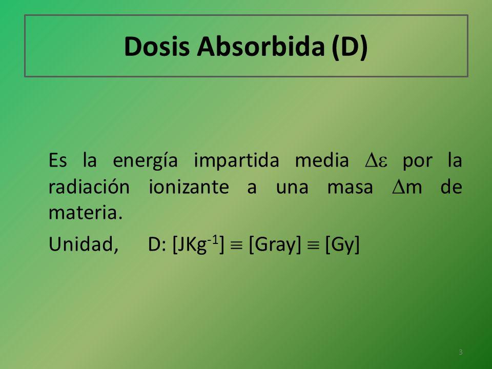 Dosis Absorbida (D) Es la energía impartida media por la radiación ionizante a una masa m de materia. Unidad, D: [JKg -1 ] [Gray] [Gy] 3