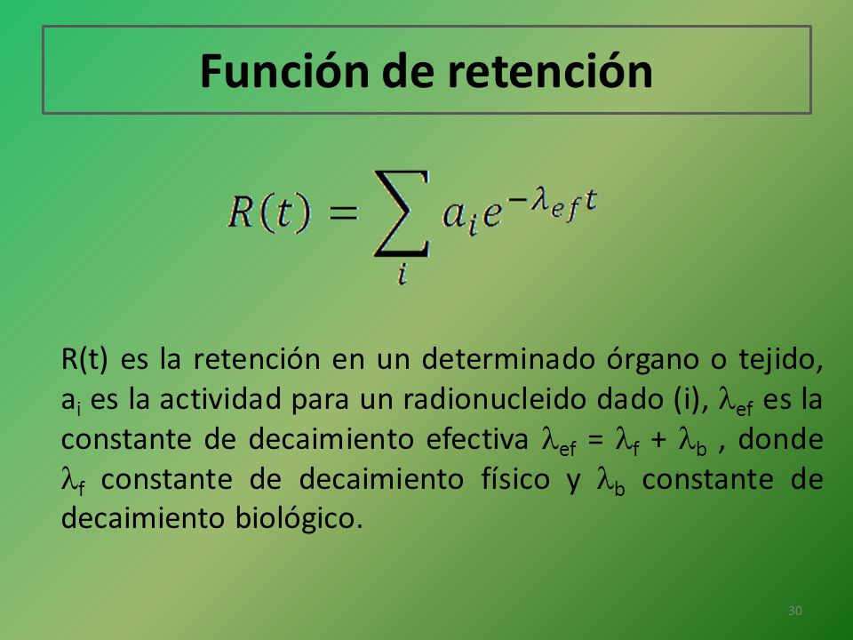 Función de retención R(t) es la retención en un determinado órgano o tejido, a i es la actividad para un radionucleido dado (i), ef es la constante de