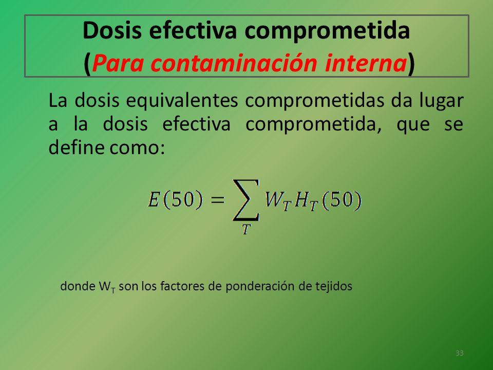 Dosis efectiva comprometida (Para contaminación interna) La dosis equivalentes comprometidas da lugar a la dosis efectiva comprometida, que se define
