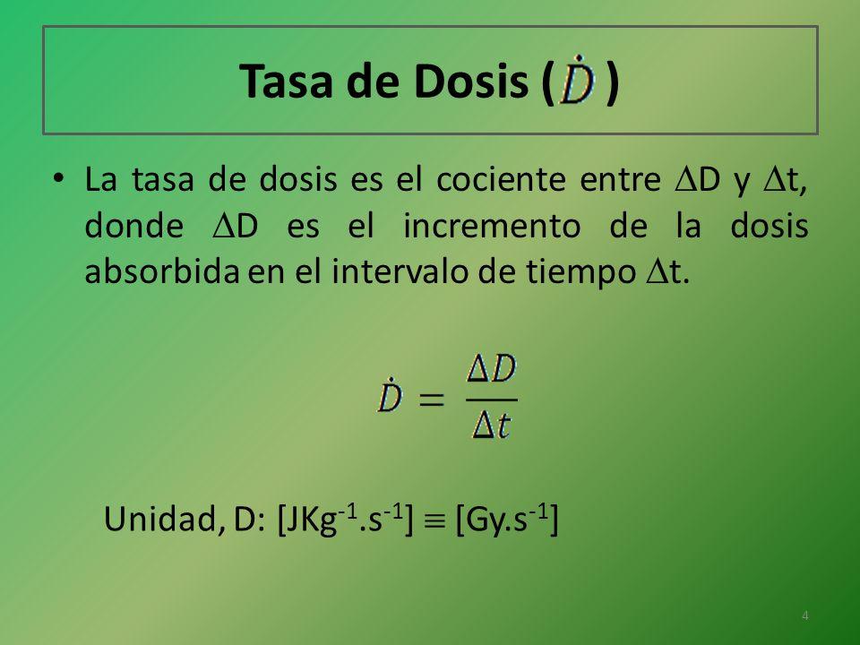 Tasa de Dosis ( ) La tasa de dosis es el cociente entre D y t, donde D es el incremento de la dosis absorbida en el intervalo de tiempo t. Unidad, D: