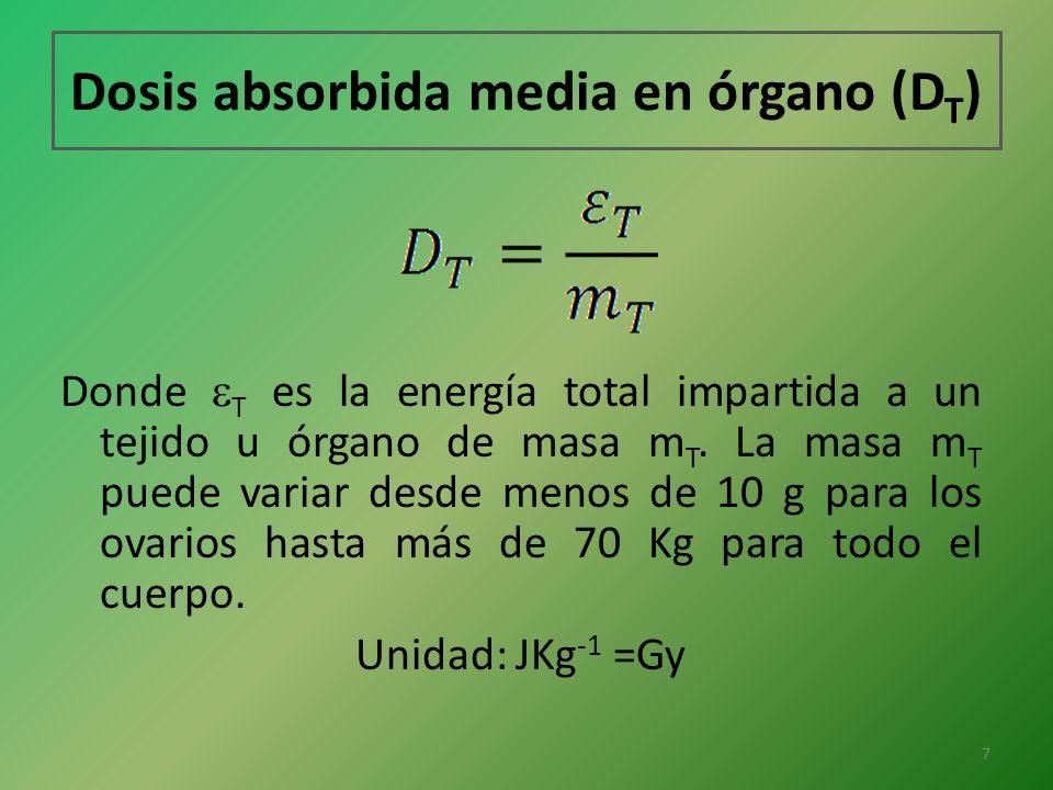 Dosis absorbida media en órgano (D T ) Donde T es la energía total impartida a un tejido u órgano de masa m T. La masa m T puede variar desde menos de