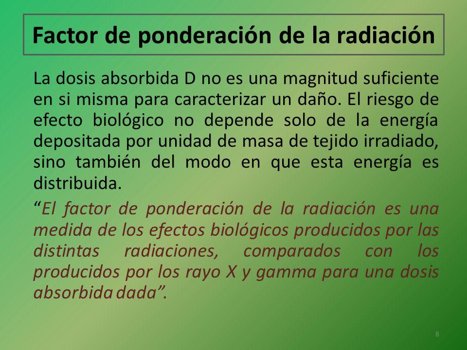 Factor de ponderación de la radiación La dosis absorbida D no es una magnitud suficiente en si misma para caracterizar un daño. El riesgo de efecto bi