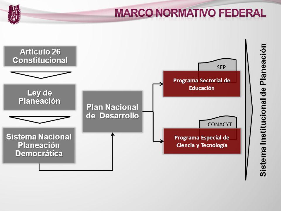 Artículo 26 Constitucional Ley de Planeación Sistema Nacional Planeación Democrática Programa Especial de Ciencia y Tecnología CONACYT Plan Nacional d