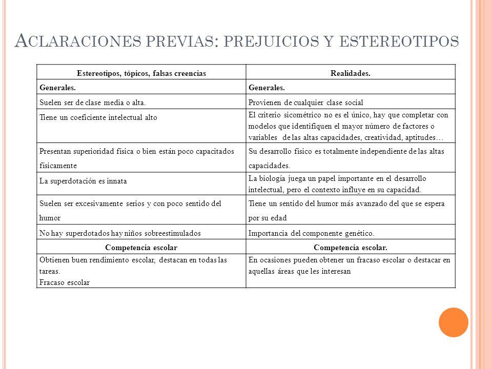 A CLARACIONES PREVIAS : PREJUICIOS Y ESTEREOTIPOS Estereotipos, tópicos, falsas creenciasRealidades.