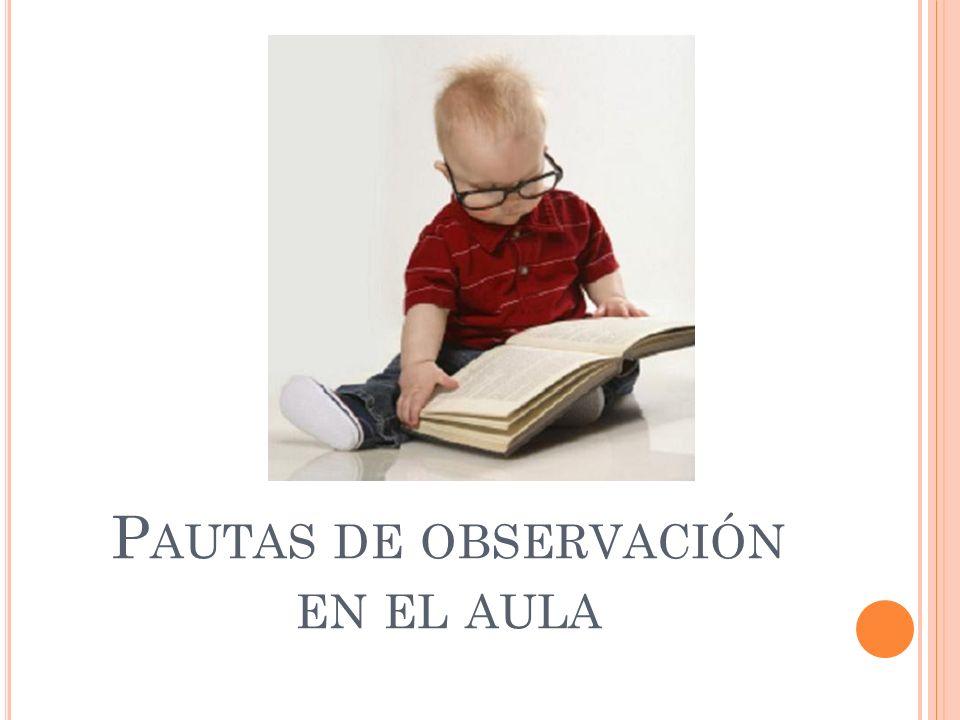P AUTAS DE OBSERVACIÓN EN EL AULA
