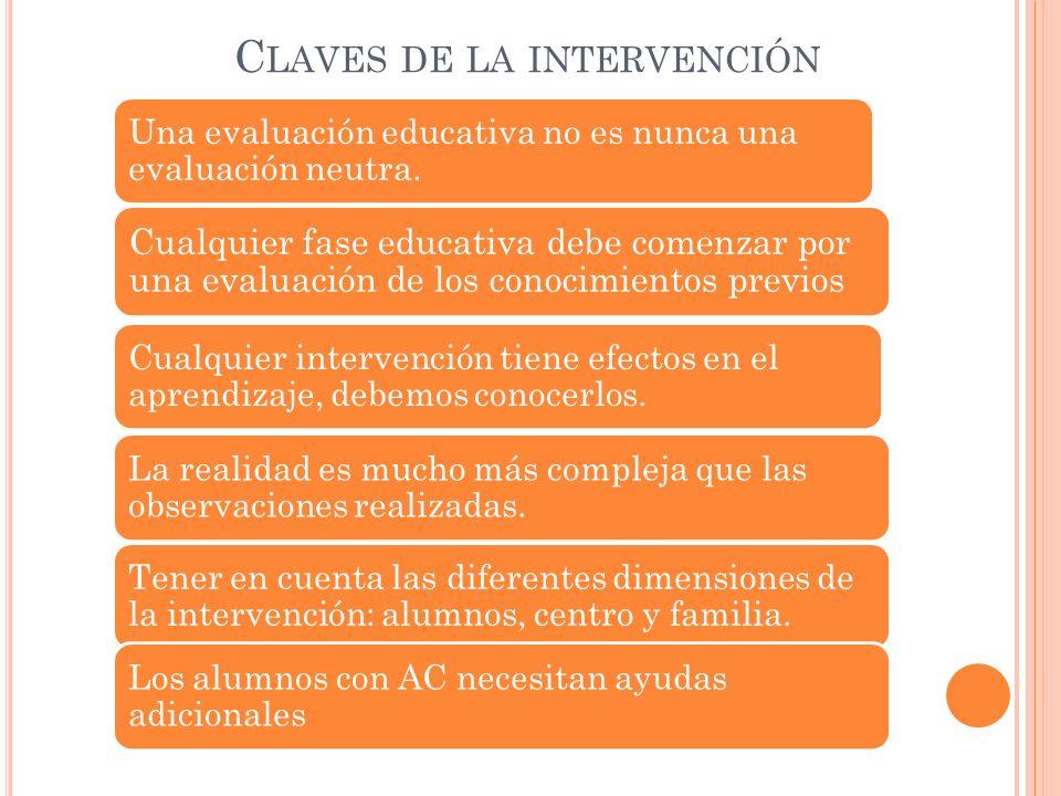 C LAVES DE LA INTERVENCIÓN Una evaluación educativa no es nunca una evaluación neutra.