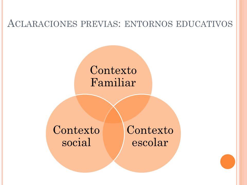 A CLARACIONES PREVIAS : ENTORNOS EDUCATIVOS Contexto Familiar Contexto escolar Contexto social