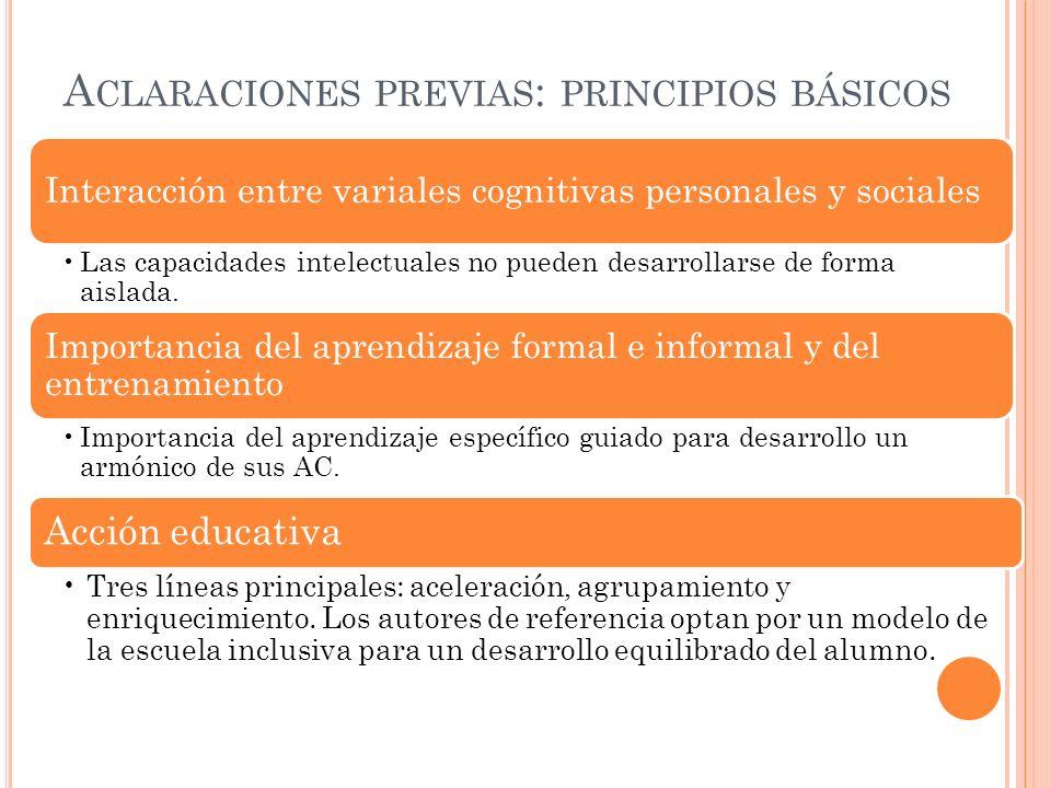 A CLARACIONES PREVIAS : PRINCIPIOS BÁSICOS Interacción entre variales cognitivas personales y sociales Las capacidades intelectuales no pueden desarrollarse de forma aislada.