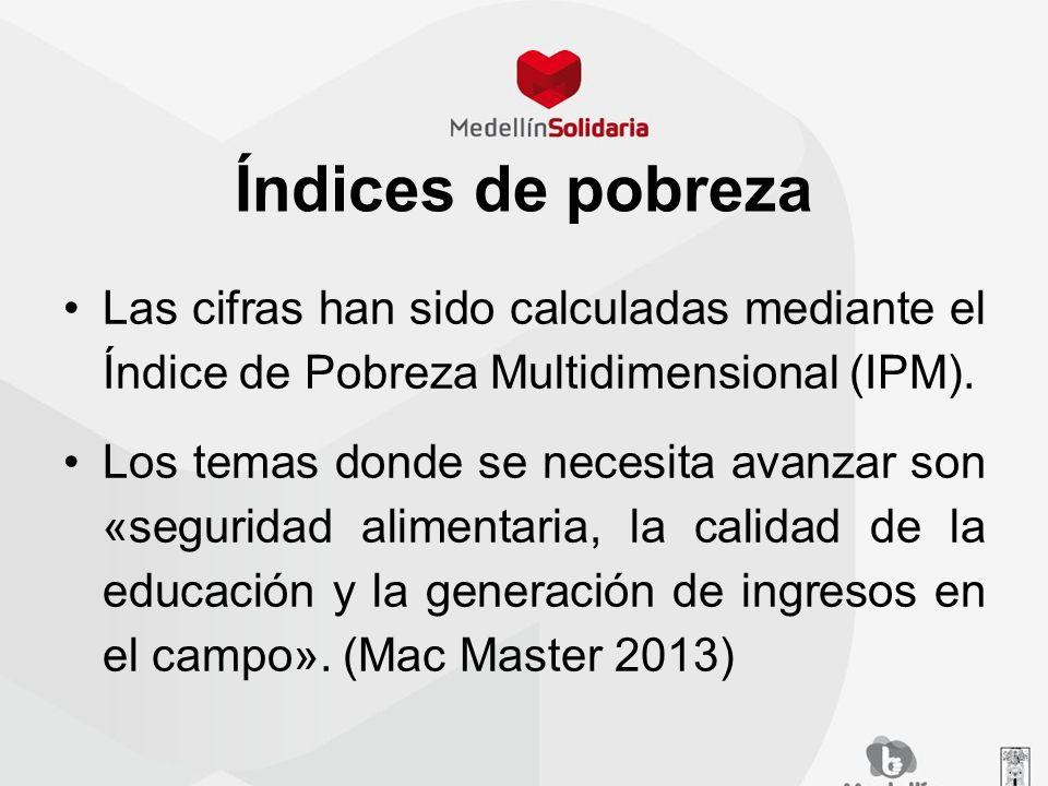Índices de pobreza Las cifras han sido calculadas mediante el Índice de Pobreza Multidimensional (IPM). Los temas donde se necesita avanzar son «segur