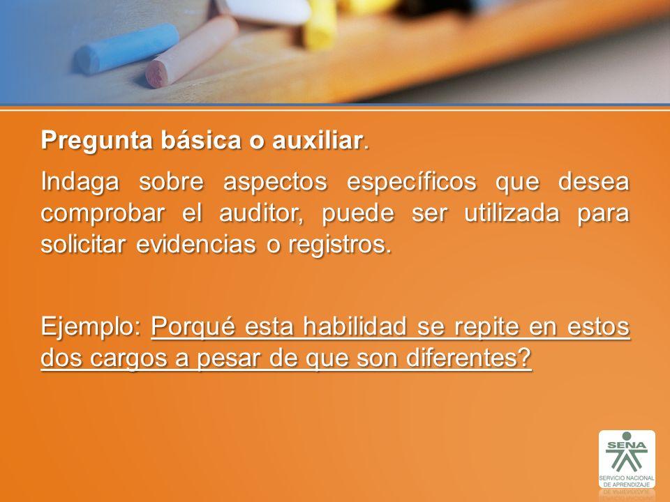 Pregunta básica o auxiliar. Indaga sobre aspectos específicos que desea comprobar el auditor, puede ser utilizada para solicitar evidencias o registro