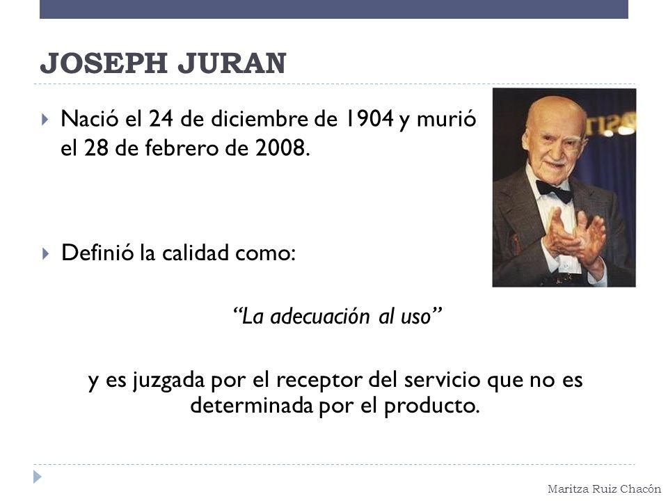 Maritza Ruiz Chacón JOSEPH JURAN Nació el 24 de diciembre de 1904 y murió el 28 de febrero de 2008. Definió la calidad como: La adecuación al uso y es