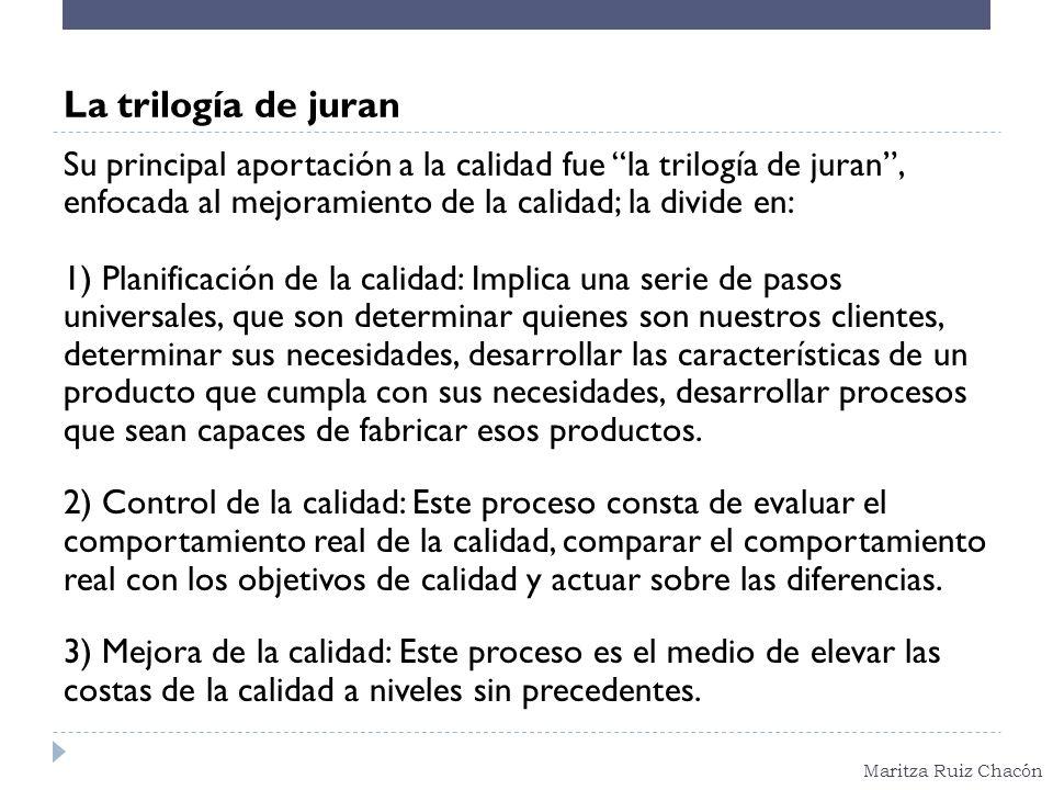 Maritza Ruiz Chacón La trilogía de juran Su principal aportación a la calidad fue la trilogía de juran, enfocada al mejoramiento de la calidad; la div
