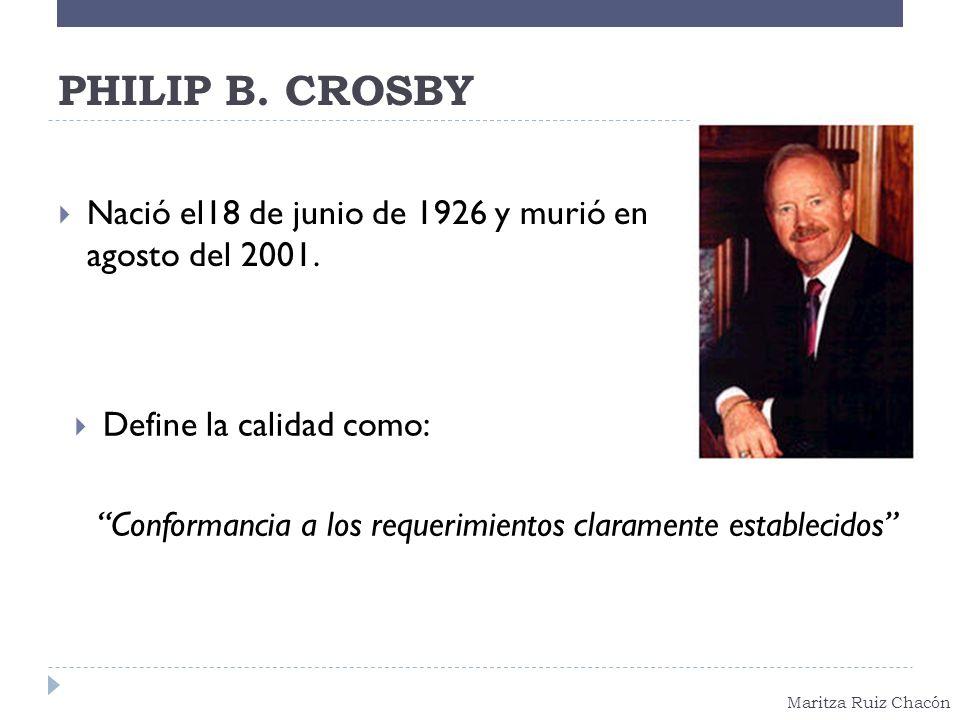 Maritza Ruiz Chacón PHILIP B. CROSBY Nació el18 de junio de 1926 y murió en agosto del 2001. Define la calidad como: Conformancia a los requerimientos