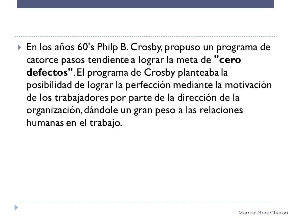Maritza Ruiz Chacón En los años 60's Philp B. Crosby, propuso un programa de catorce pasos tendiente a lograr la meta de