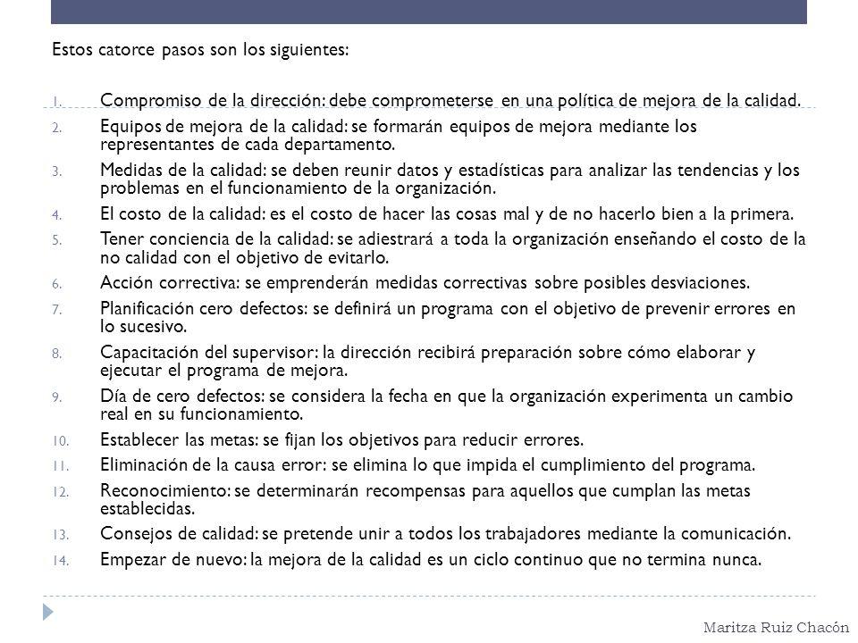 Maritza Ruiz Chacón Estos catorce pasos son los siguientes: 1. Compromiso de la dirección: debe comprometerse en una política de mejora de la calidad.