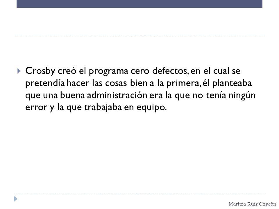 Maritza Ruiz Chacón Crosby creó el programa cero defectos, en el cual se pretendía hacer las cosas bien a la primera, él planteaba que una buena admin