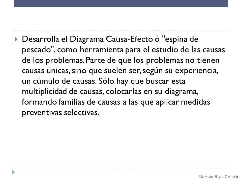 Maritza Ruiz Chacón Desarrolla el Diagrama Causa-Efecto ó